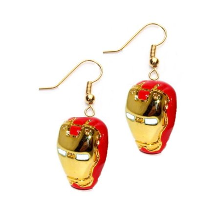 - Dangle Earrings Marvel Iron Man Red & Gold Mask Logo In Gift Box by Superheroes