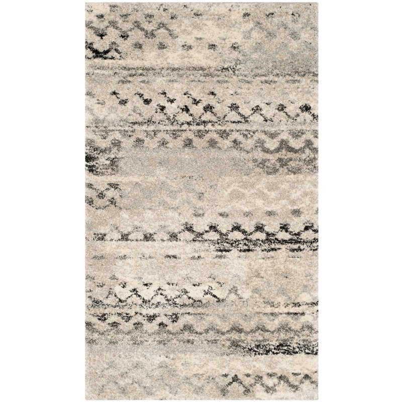 Safavieh Retro 6' Square Power Loomed Rug in Cream and Gray - image 3 of 10