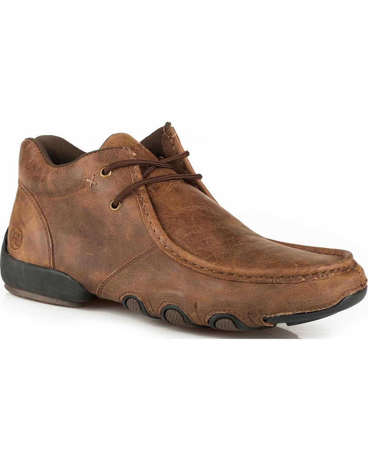 Roper Men's Leather 2 Eye Lace Up Driving Moc Chukka Shoes - 09-020-1770-0759 Br