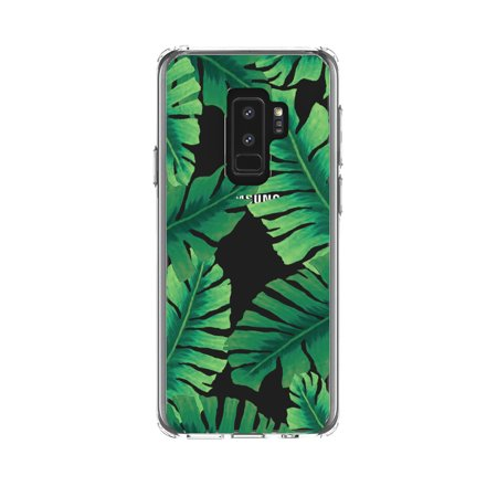 "DistinctInk Clear Shockproof Hybrid Case for Samsung Galaxy S9+ PLUS (6.2"" Screen) - TPU Bumper, Acrylic Back, Tempered Glass Screen Protector - Tropical Banana Leaves"