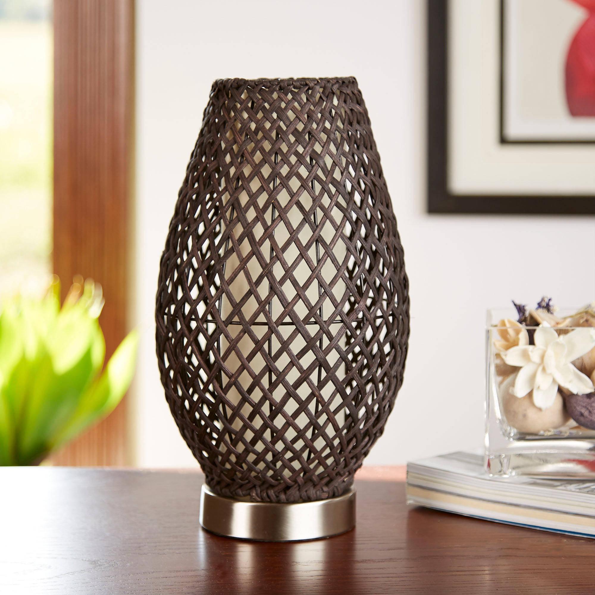 hometrends dark brown rattan accent lamp walmart com