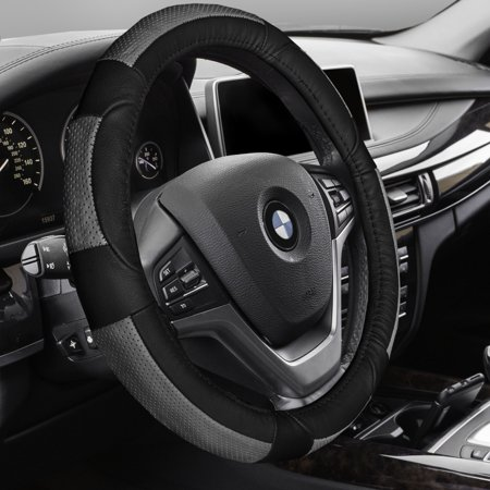 FH GROUP Premium Genuine Full Grain Leather Steering Wheel Cover, Gray and Black Black Leather Steering Wheel Cover