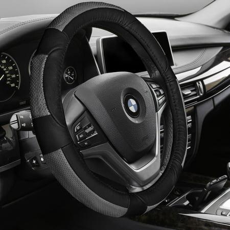 Premium Full Grain Leather - FH GROUP Premium Genuine Full Grain Leather Steering Wheel Cover, Gray and Black