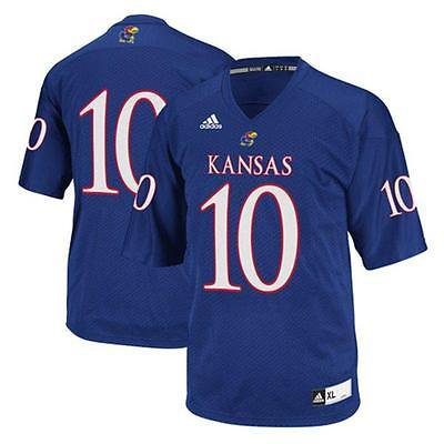 Kansas Jayhawks #10 NCAA Adidas Youth Royal Blue Premier Football Jersey