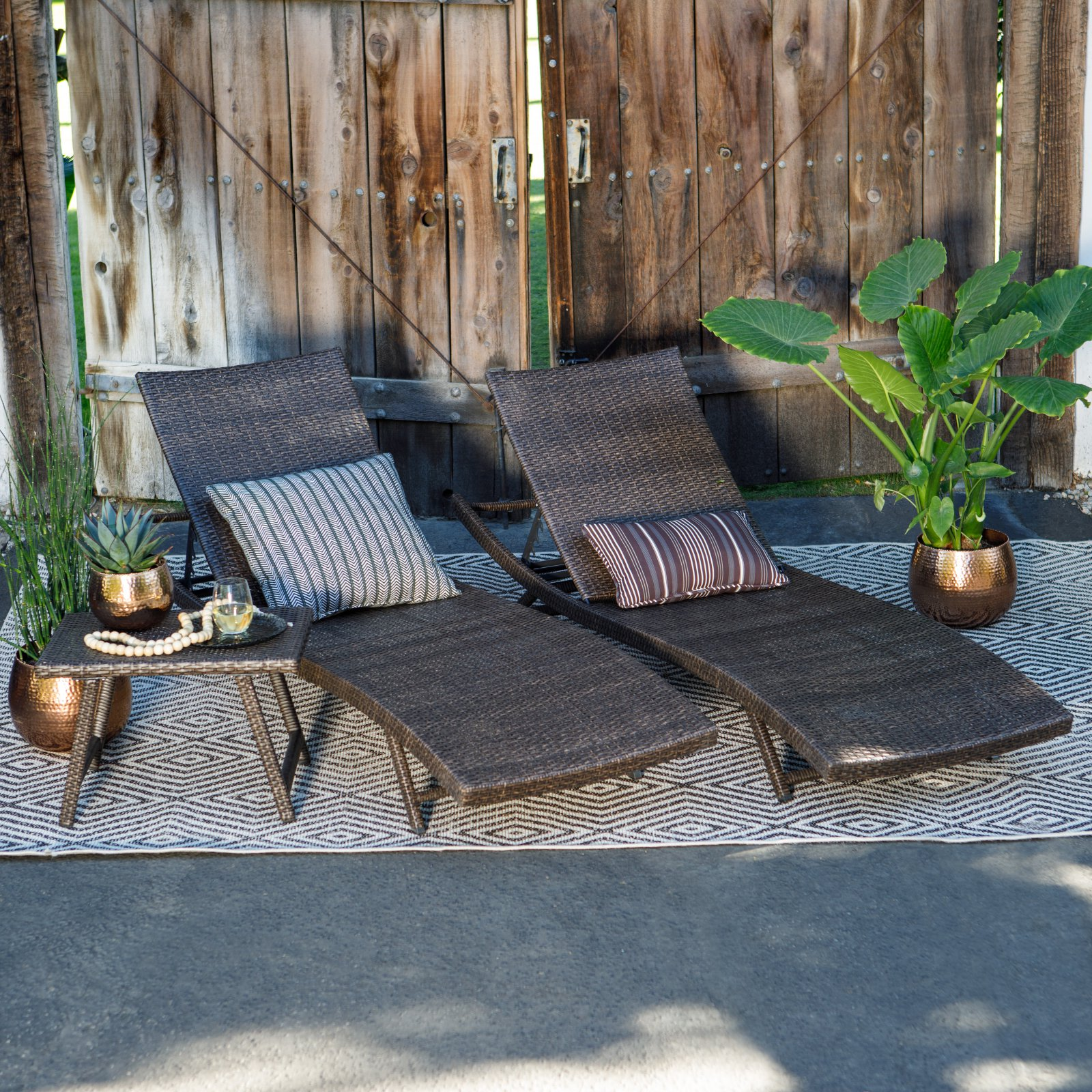 Coral Coast Ashley All-Weather Wicker 3 Piece Chaise Lounge Set with table