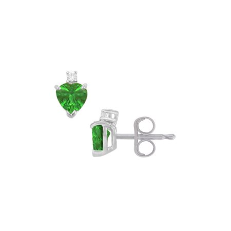 Cubic Zirconia and Created Emerald Stud Earrings 925 Sterling Silver 2.04 CT TGW - image 2 de 2