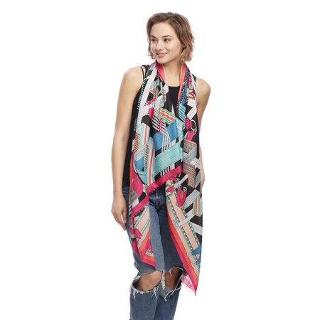 Linen Blend Scarf - Womens Cashmere Blend Stylish Geometric Design Printed Oblong Lightweight Fashion Scarf for Spring Summer Fall Season