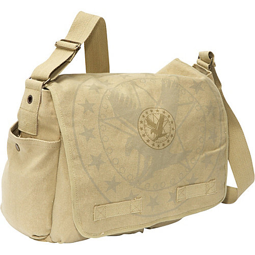Vintage Khaki Hw Messenger Bag-Eagle Logo
