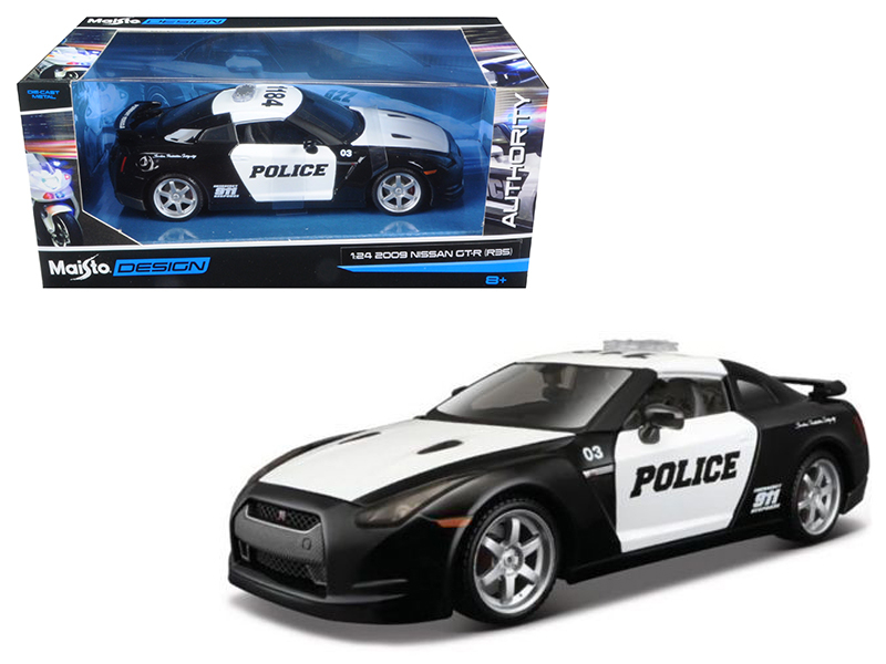 2009 Nissan GT-R (R35) Police Car Black and White 1 24 Diecast Model Car by Maisto by