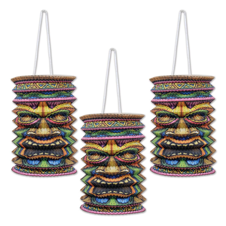 "Club Pack of 18 Tropical Hawaiian Luau Tiki Paper Lantern Hanging Decorations 9"""