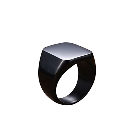 Stainless Steel Fashion Ring Square Big Width Signet Rings Men Ring Jewelry