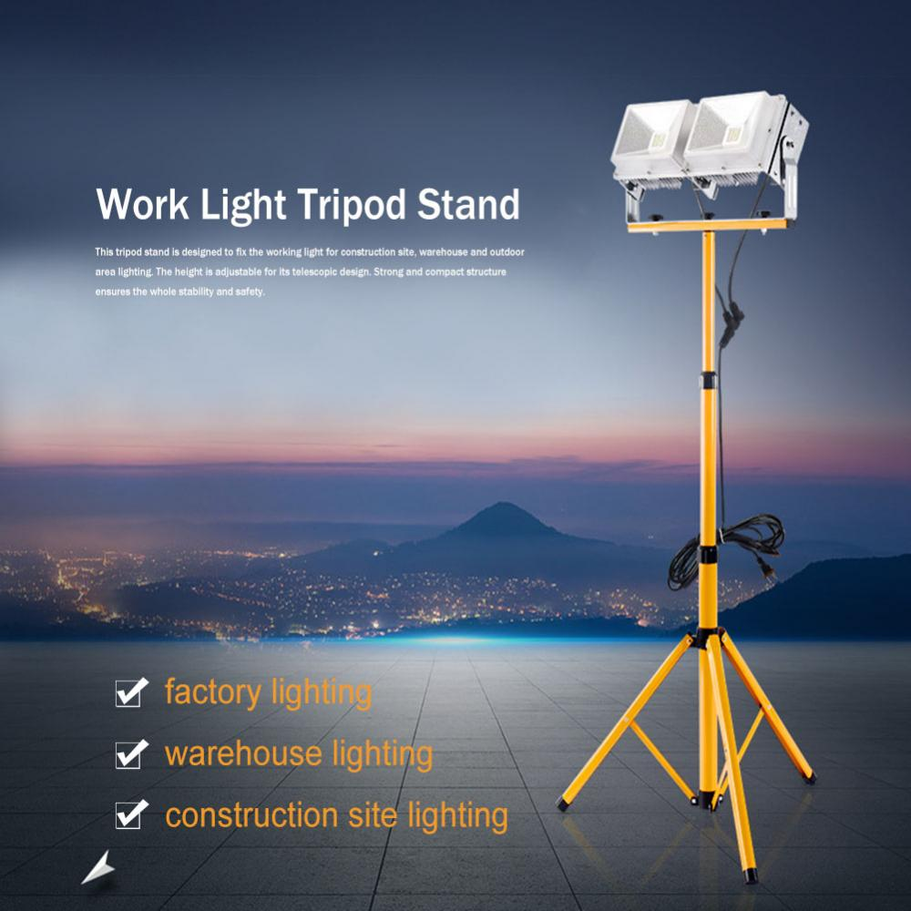 Telescopic Twin Head Tripod Stand for LED Flood Light Construction Site Work Lamp Lighting,Work Light Tripod Stand, Lighting Tripod