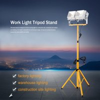 Work Light Tripod Stand Hilitand Telescopic Twin Head Tripod Stand for LED Flood Light Construction Site Work Lamp Lighting, Lighting Tripod
