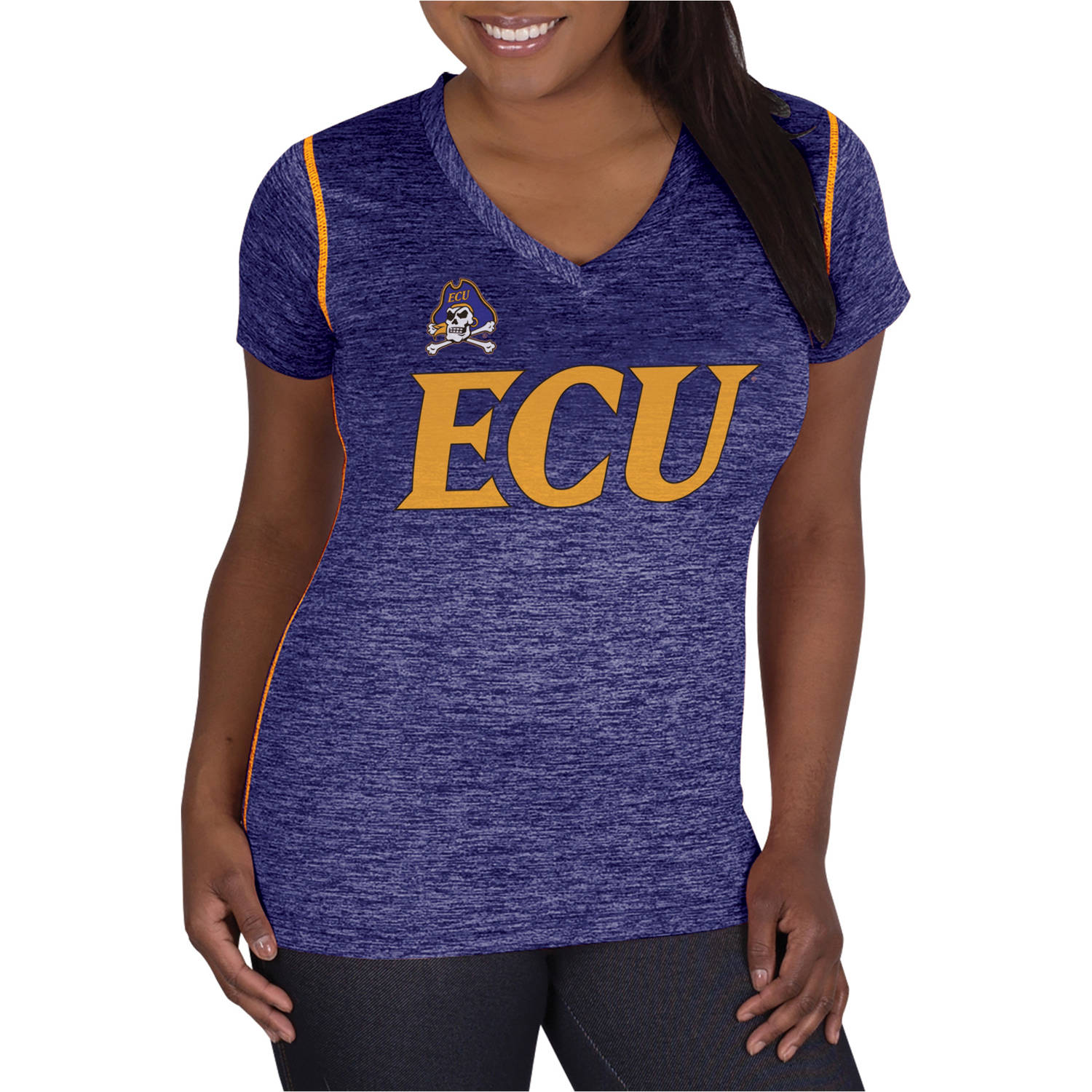 NCAA East Carolina Pirates Ladies Classic-Fit Synthetic V-Neck Tee