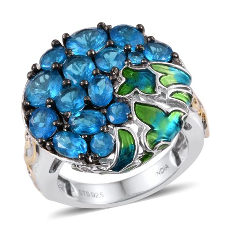 Neon Apatite Platinum Plated Silver Fashion Ring For Women 13.6 Cttw Size 7