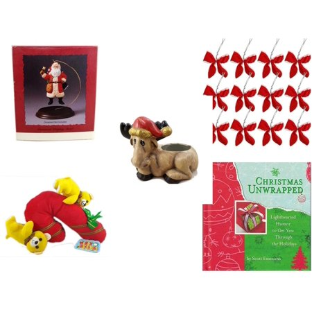 Christmas Fun Gift Bundle [5 Piece] - Hallmark Ornament Display Stand - Set of 12 Red Velvet White Trim Wire Bows - Creation House Co., LTD Sad  Moose Planter - Merry  Candycane With Animals  12