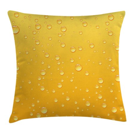 Yellow Decor Throw Pillow Cushion Cover, Yellow Ombre Background Like Beer in a Glass with Water Drops Graphic Art Prints, Decorative Square Accent Pillow Case, 20 X 20 Inches, Yellow, by Ambesonne (Beer Covers)