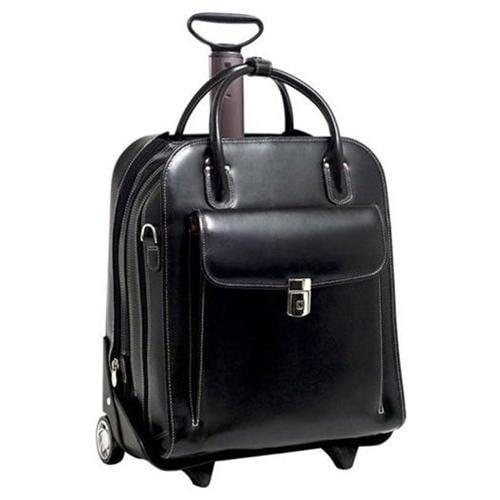 """McKleinUSA La Grange W Series 96495 Vertical Detachable-Wheeled Ladies' Briefcase - Briefcase - Shoulder Strap, Hand Strap, Handle15.4"""" Screen Support - Leather - Black - McKlein"""