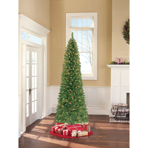 Holiday Time Pre-Lit 7' Brinkley Pine Pencil Artificial Christmas Tree, Clear Lights
