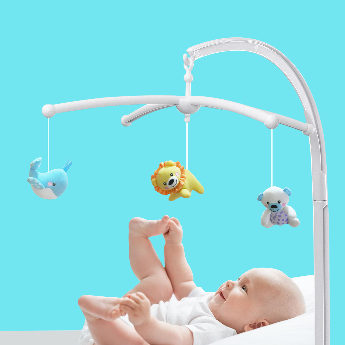 Baby Crib Mobile Bed Bell Holder Arm Bracket Battery-operated Musical Mobile Box