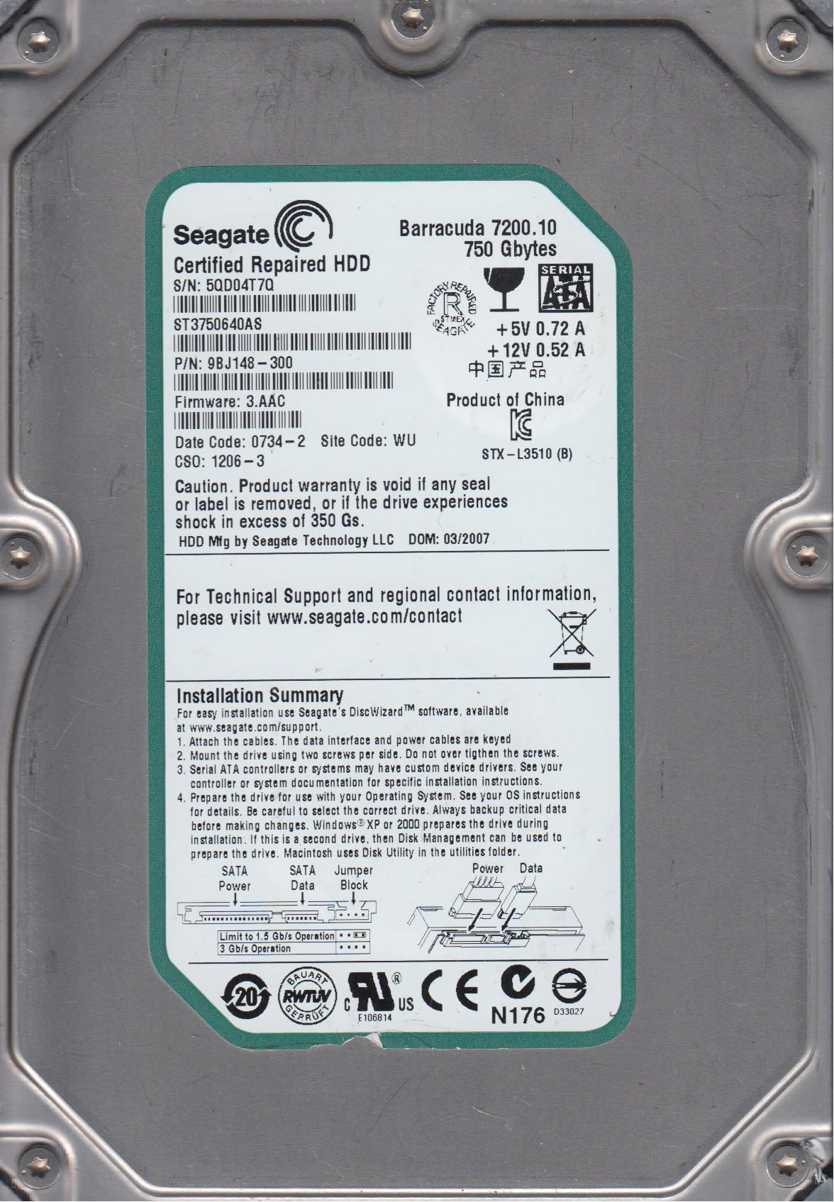 Dell Precision 390 Seagate ST3750630AS Windows 8