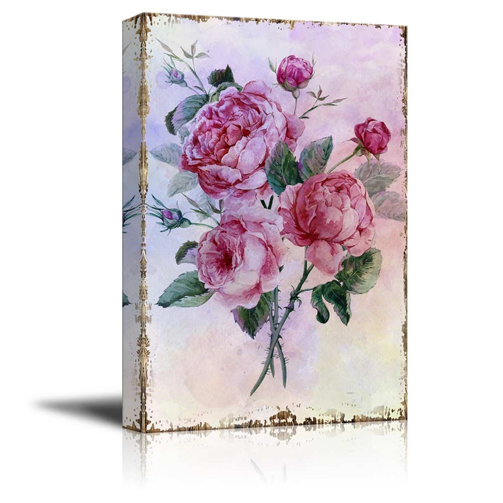 wall26 Bouquet of Pink Watercolor Roses on a Delicate Watercolor Background - Nature - Canvas Art Home Decor - 32x48 inches