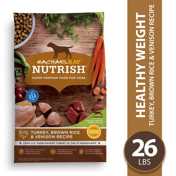 Rachael Ray Nutrish Natural Premium Dry Dog Food, Turkey, Brown Rice & Venison Recipe, 26 Lbs