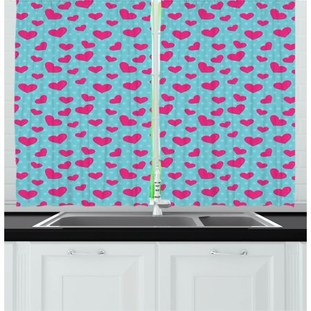 Pop Art Curtains 2 Panels Set, Retro 50s 60s Style Image with Hearts Abstract Polka Dots Art Print, Window Drapes for Living Room Bedroom, 55W X 39L Inches, Hot Pink and Turquoise, by Ambesonne - 50's Style Home Decor
