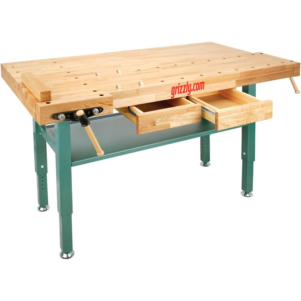 Grizzly T10157 Heavy-Duty Oak Workbench with Steel Legs by