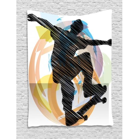 Super Teen Room Tapestry Abstract Grunge Stylized Sketch Art Of A Skater Young Boy Exotic Sports Graphic Wall Hanging For Bedroom Living Room Dorm Decor Download Free Architecture Designs Ogrambritishbridgeorg