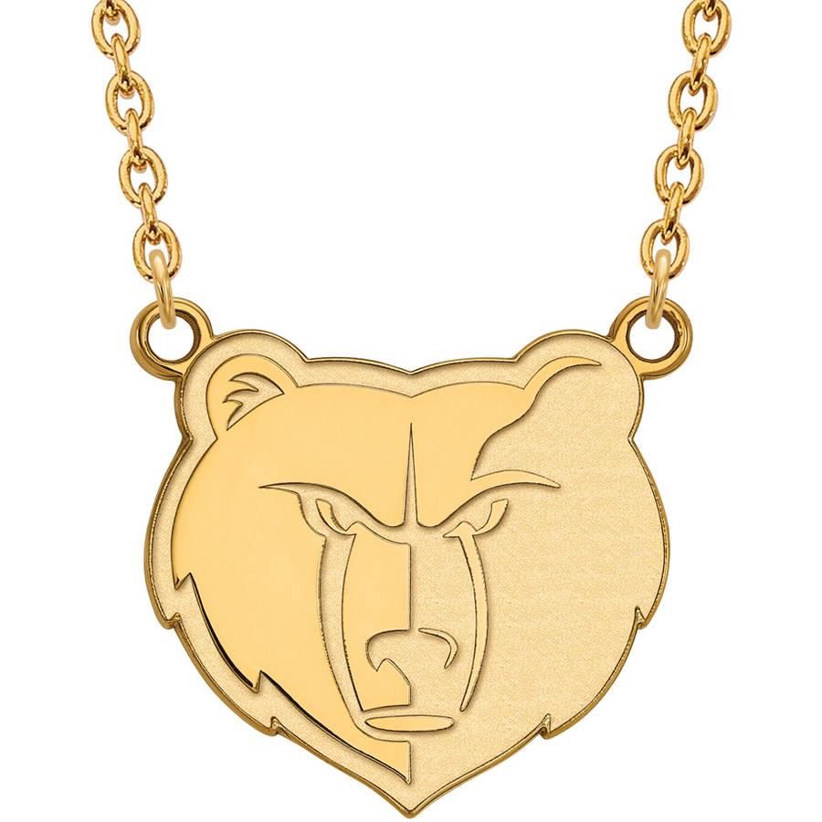 LogoArt NBA Memphis Grizzlies 14kt Gold-Plated Sterling Silver Large Pendant with Necklace