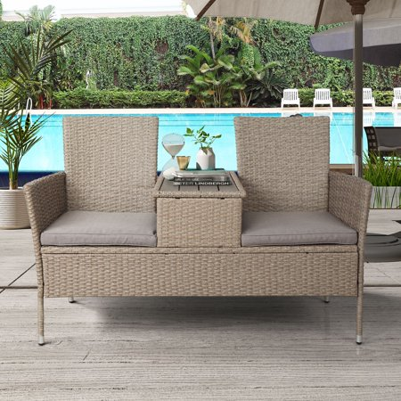 TKOOFN Rattan Outdoor Furniture Patio Conversation Set 2-Person Chat Set Wicker Sofas with Removable Cushions and Wood Coffee Table for Backyard, Poolside, Balcony - Brown