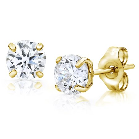 Jewelers 14K Gold 4MM Round-Cut Stud Earrings made with Crystals Swarovski (4mm Star Stud Earrings)