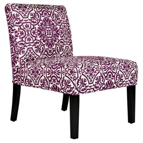 Beau ANGELOHOME Angelo:HOME Bradstreet Modern Damask Provence Purple Upholstered  Armless Chair
