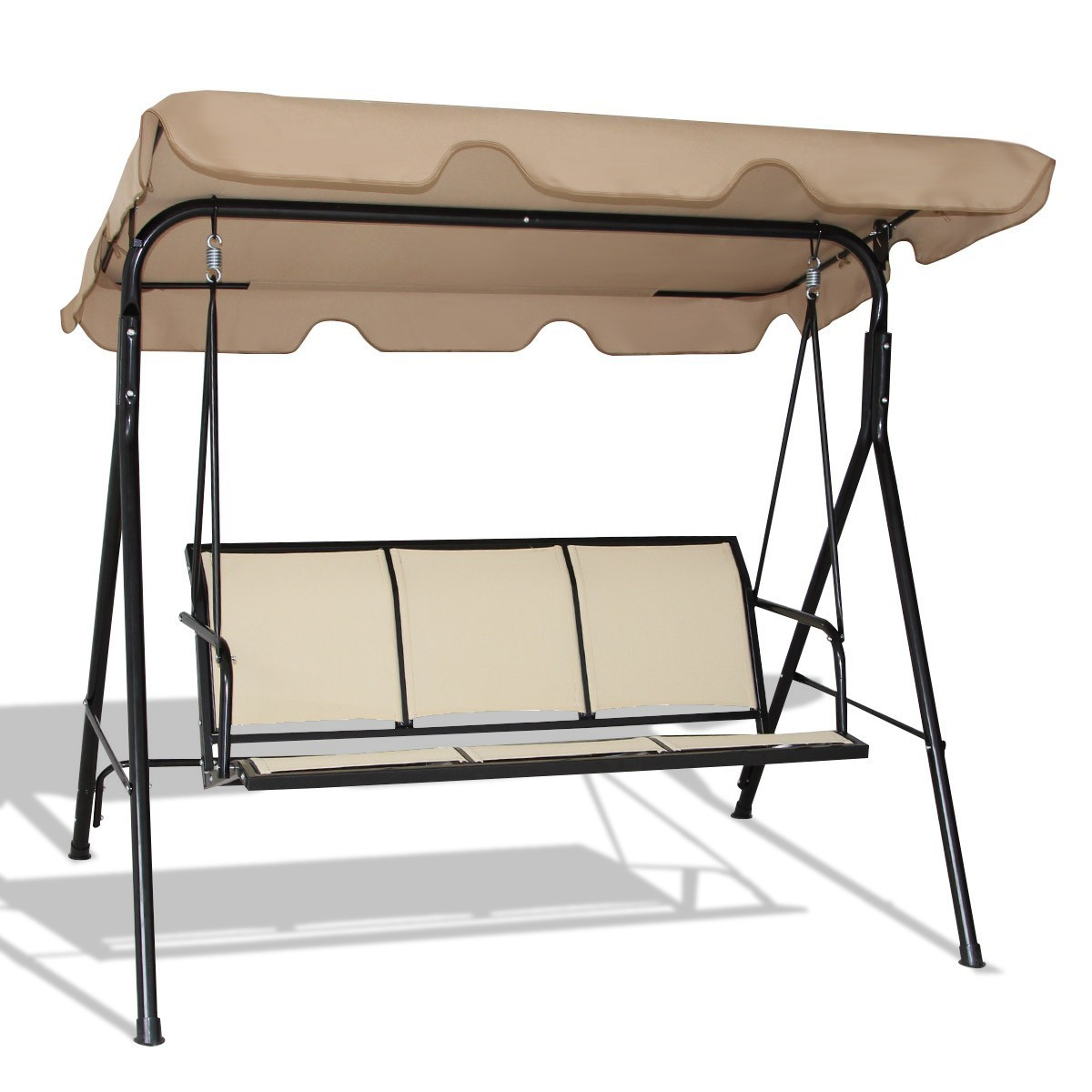 Outdoor Swing Bench: Outdoor Patio 3 Person Porch Swing Bench Chair With Canopy