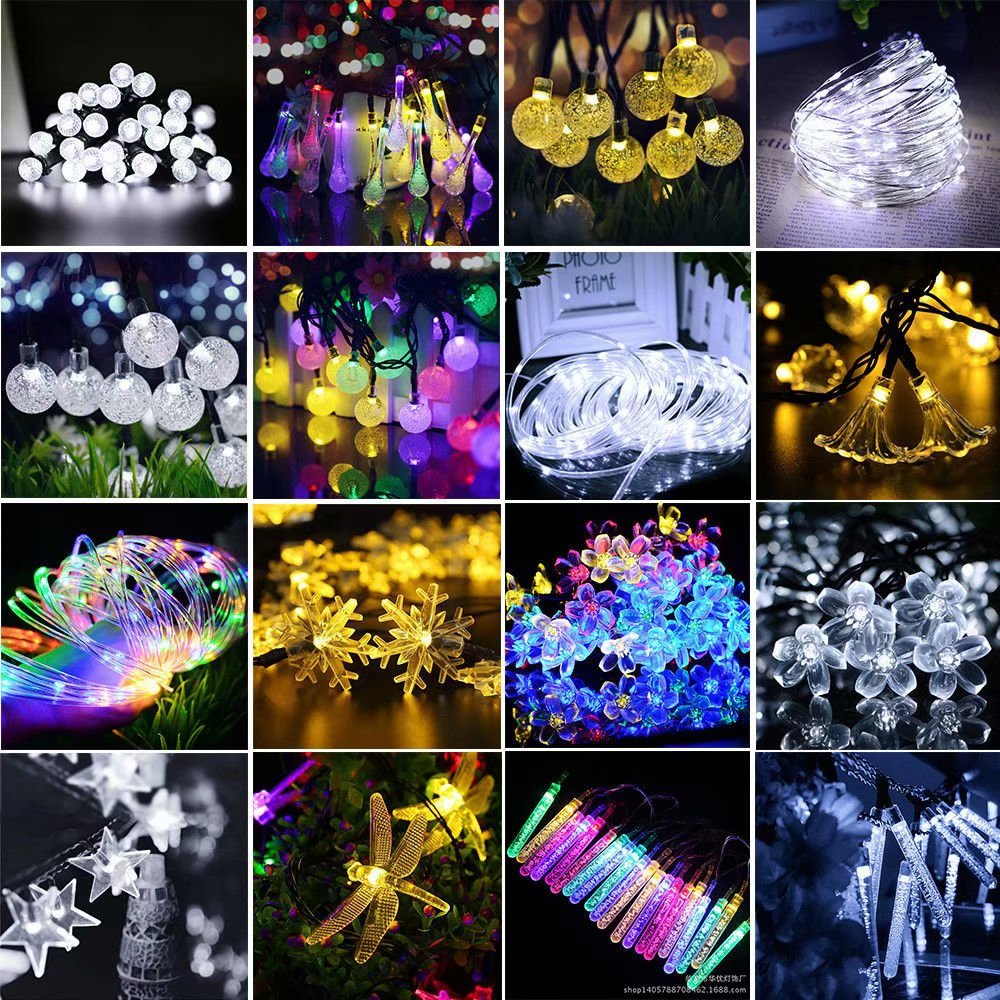 Solar Powered String Lights 30LED/50LED/100LED Globe Fairy Lights for Indoor Garden Home Holiday Decorations,Christmas Tree[8 Modes]((Warm/White/RGB)