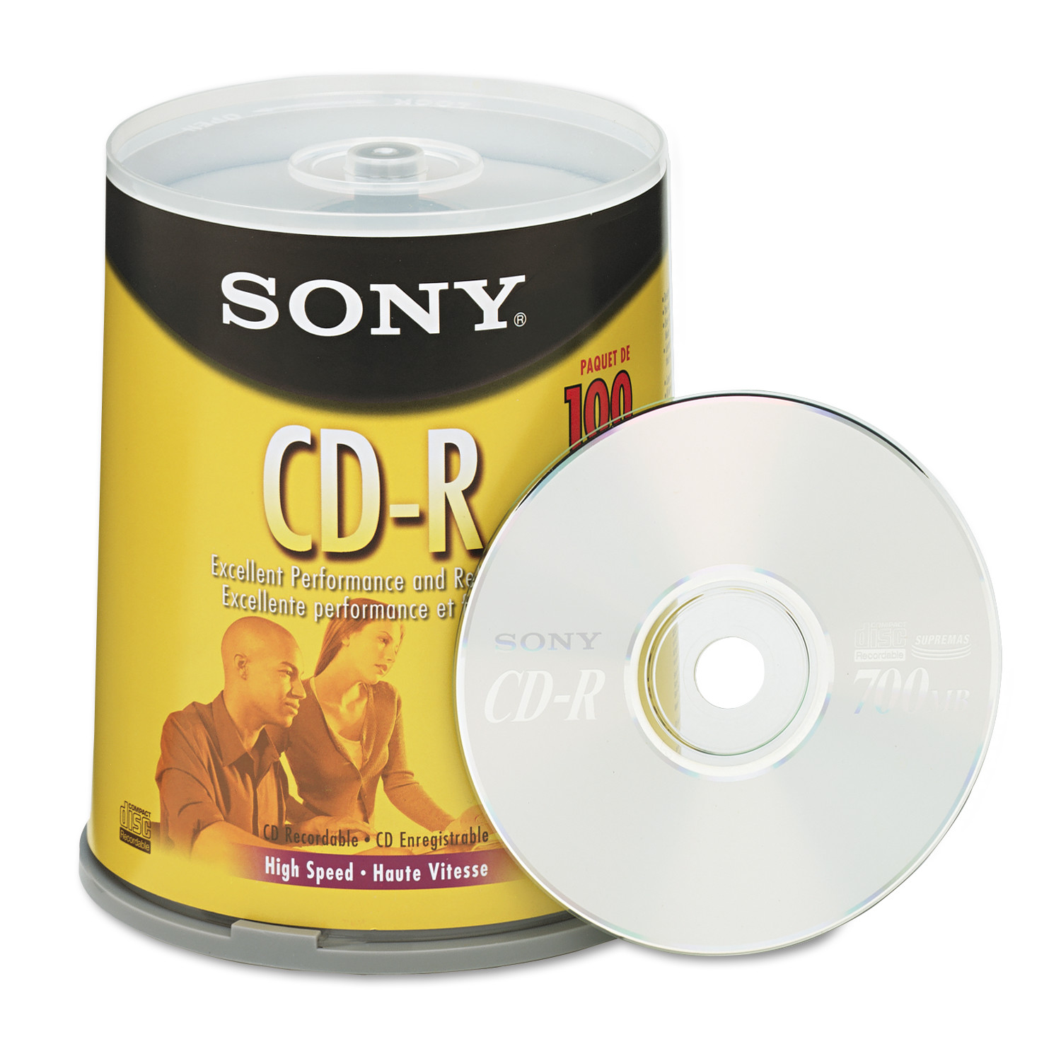Sony CD-R Discs, 700MB/80min, 48x, Spindle, Silver, 100/Pack