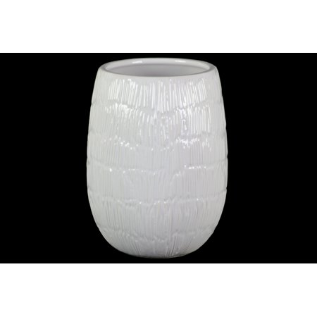 Urban Trends Collection: Ceramic Vase Gloss Finish - White Ceramic Vase
