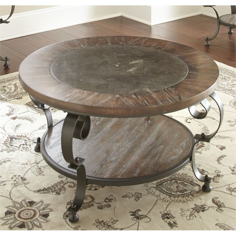 Bowery Hill Round Coffee Table in Weathered Brown - image 2 of 2