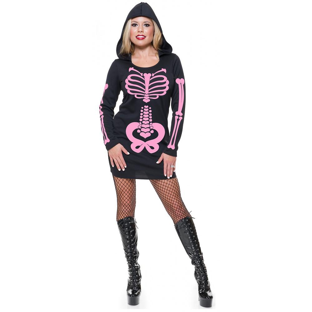 Skeleton Hoodie Dress Adult Costume Black/Pink - X-Large