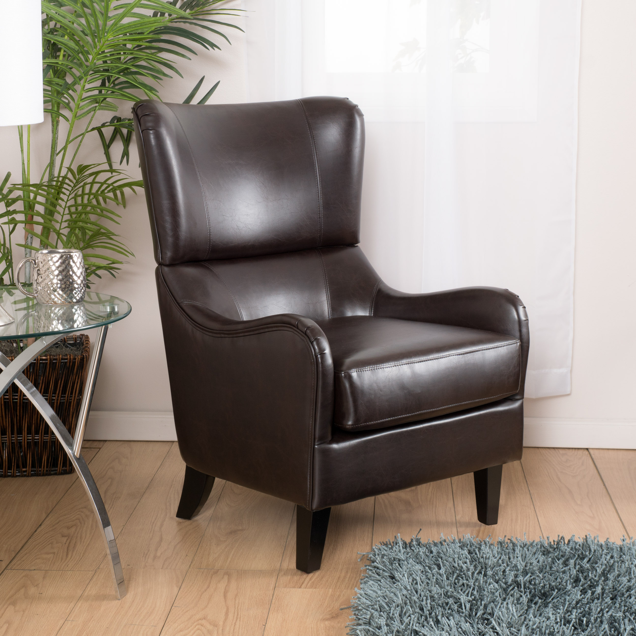 Noble House Mccall Leather Club Chair, Brown
