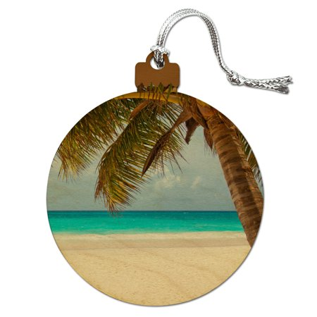 Tropical Palm Tree Ocean Beach Wood Christmas Tree Holiday