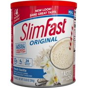 SlimFast  Original Meal Replacement Shake Mix Powder  Weight Loss Shake  10g of Protein  24 Vitamins and Minerals Per Serving  Great Taste  12.83 oz.  French Vanilla