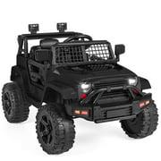 Best Choice Products 12V Kids Ride On Truck Car w/ Parent Remote Control, Spring Suspension, LED Lights, AUX Port - Black