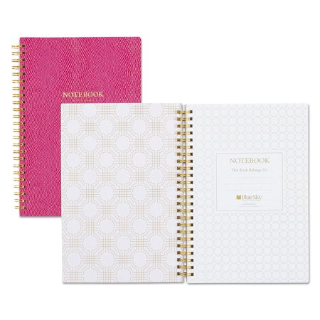 Blue Sky Notebook, 1 Subject, Narrow Rule, Berry Cover, 8.5 x 5.75, 80 Pages -BLS100631 Gold Fiber Notebook
