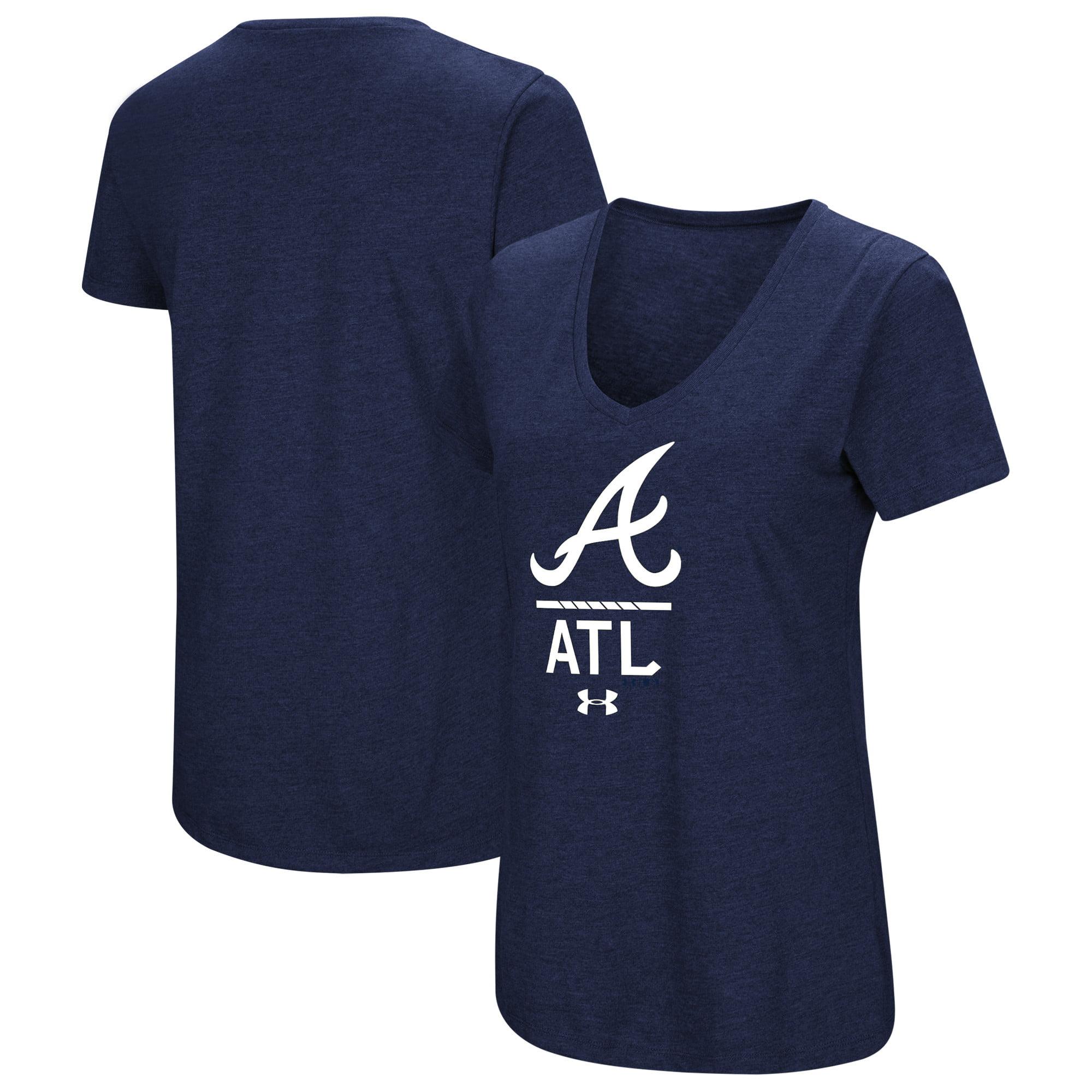 Atlanta Braves Under Armour Women's Team Lock-Up Performance Tri-Blend V-Neck T-Shirt - Navy