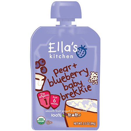 Ellas Kitchen Stage 1 Pear   Blueberry Baby Brekkie Baby Food  3 5 Oz