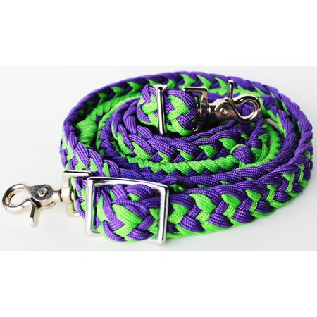 Horse Saddle Knotted Roping Western Barrel Reins Nylon Braided Lime Purple