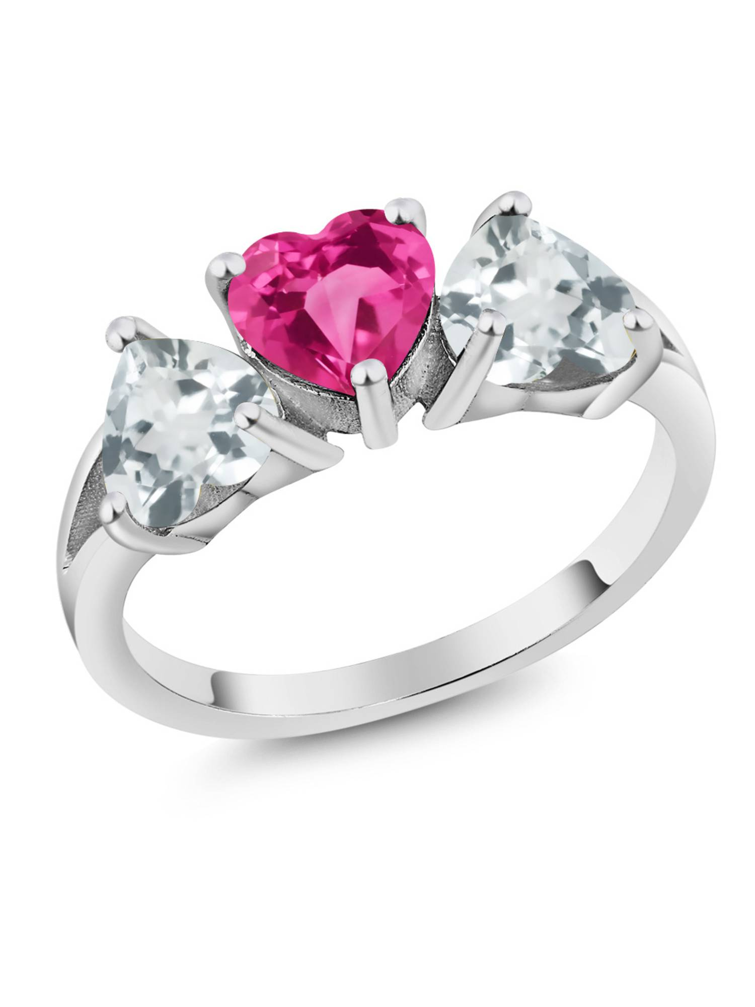 2.14 Ct Pink Created Sapphire & Sky Aquamarine 925 Sterling Silver 3-Stone Ring by