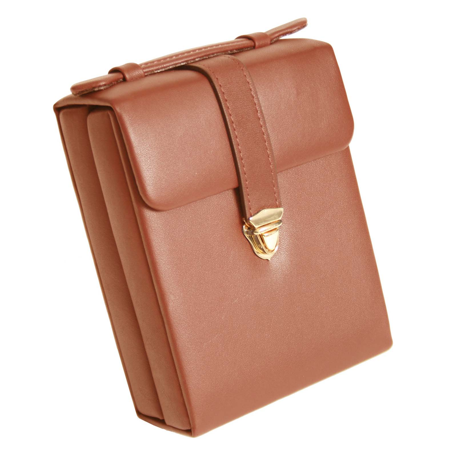 Royce Leather Travel Tan Genuine Leather Luxury Suede Lined Jewelry Case